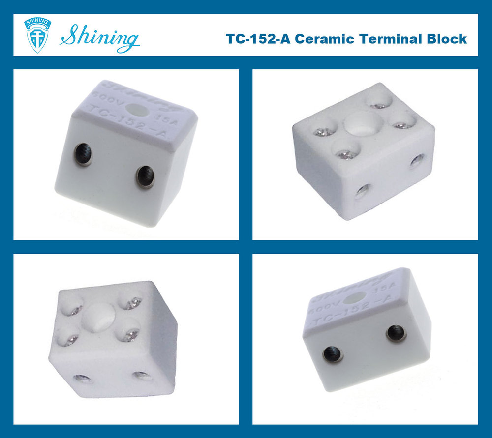 TC-152-A High Temperature 600V 15A 2 Way Porcelain Terminal Block