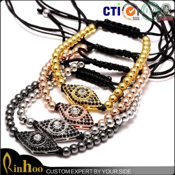 Brand Men gold Bracelet 4mm Round Bead Micro Pave CZ Evil Eye Connector Anil Arjandas Men Charm Bracelets