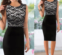 2015 The new summer black lace pencil dress office lady bodycon dress