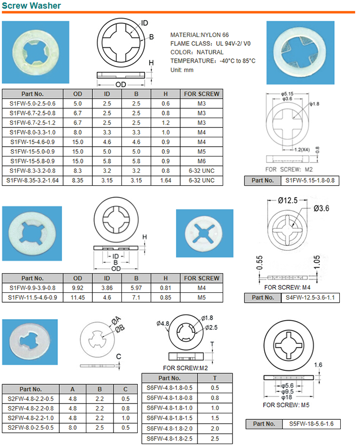 Anti-Loss Washers Plastic Nylon Washer nylon lock washer Plastic washer nylon flat washer Factory supply nylon shoulder washer