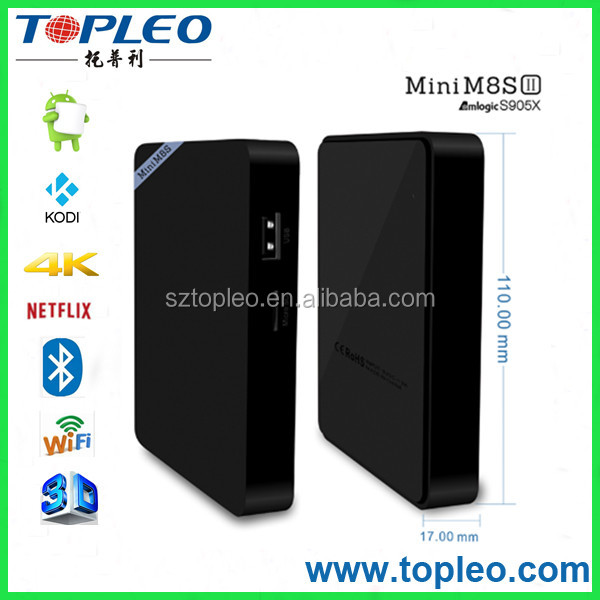 China STB Manufacturer Amlogic Quad Core S905X 2G 8G Mini M8S II Android 6.0 Smart TV Box