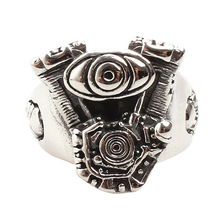 Unique Motorcycle Engine Model Hip Hop Stainless Steel Punk Ring