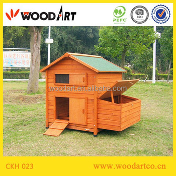 Wooden tone industrial chicken coop with tray
