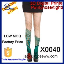 Yhao Low moq factory price sexy 3d digital printed nylon knee high socks women stocking