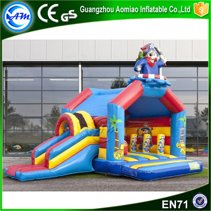 Skull one eye pirate ship bouncy castle with water slide inflatable kids jumping bouncer