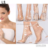 Hot sale 2017 transparent heel ankle boots Clear upper open toe ankle boots fashion transparent sandal boots