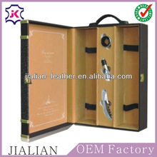 Leatherette leather 2/two/double bottle wine set gift packaging boxes cases with wine accessories