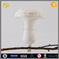Easter decoration white glass mushroom ornaments hot sell