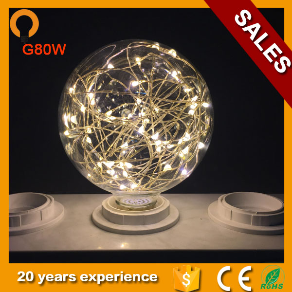 Vintage Globe Edison Light Bulb LED Starry String Lights 1.2-1.5W G80 E27 Bulbs for Home Festival Decoration