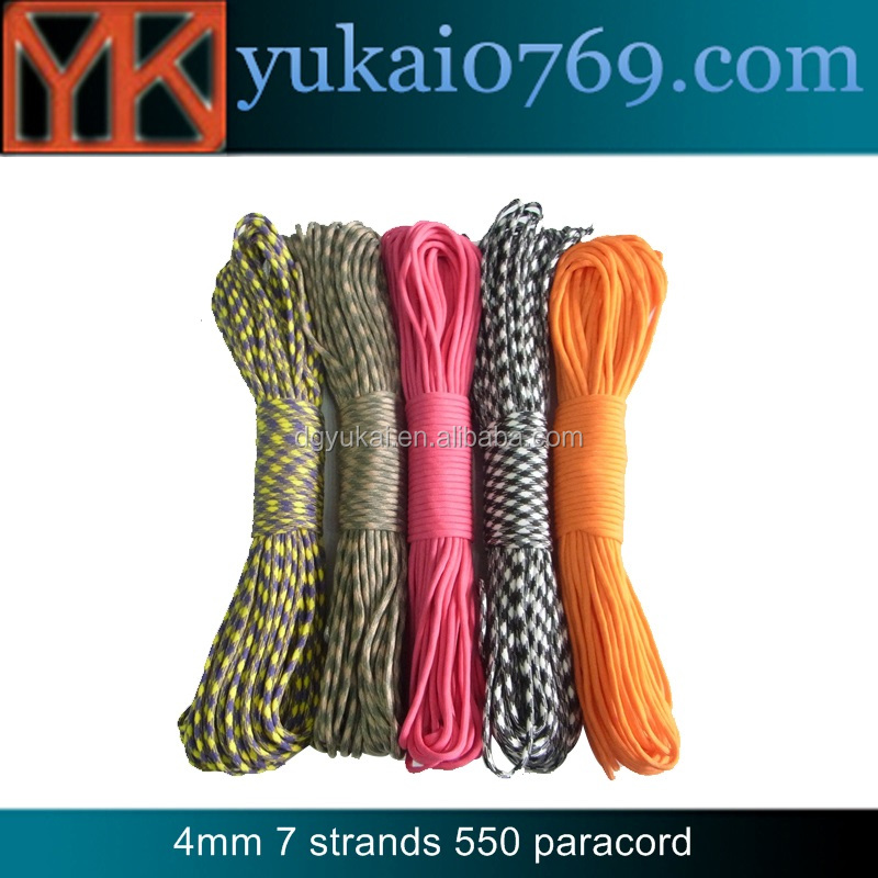 Yukai military 7 strands survival paracord rope/glow in the dark paracord