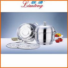 Italian style 32CM stainless steel large steam cooking pot for whosale