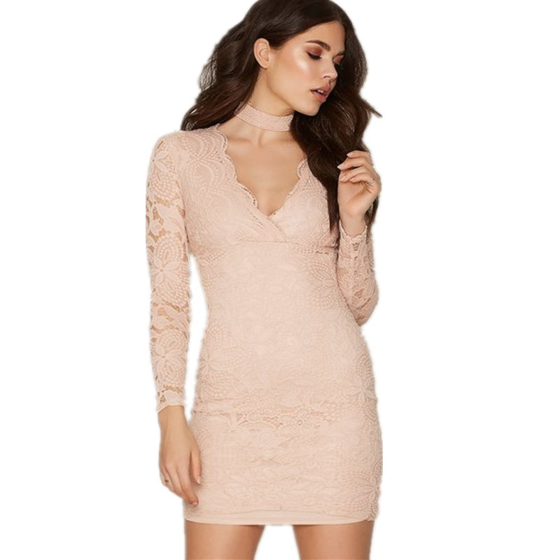 Long sleeve short casual dress lace deep V neckline baby girls party wear