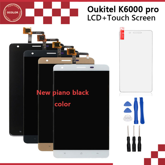Oukitel K6000 Pro LCD Display And Touch Screen Tools Original Glass Panel Digitizer Assembly For Mobile Phone+Tempered Glass