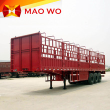 Maowo brand 3 axles 60 tons high strength steel livestock vegetable carrier stake semi fence trailer