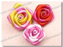 Colorful mini ribbon roses
