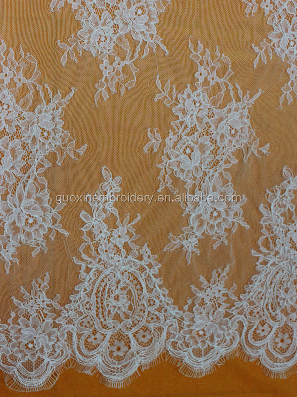2015 Latest nylon rigid eyelash lace/chantilly lace for wedding dress