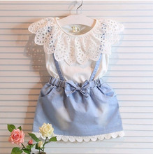 Girls Clothing Sets 2017 Summer New Kids Ladies Fashion Hollow Sleeveless Shirts + Bow Skirts Suits Clothes