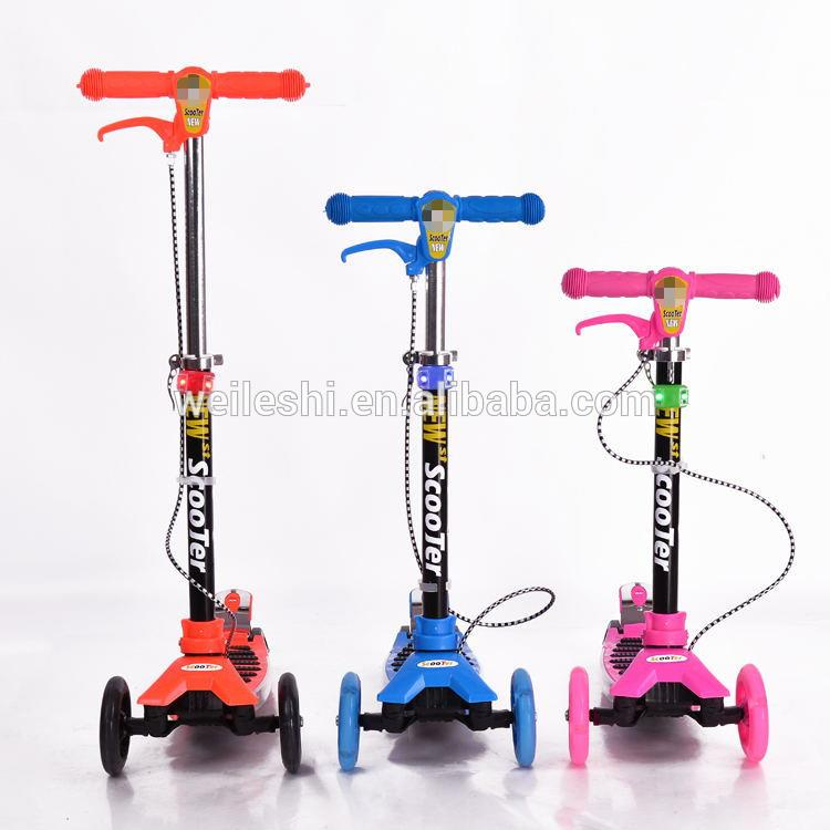 Plastic folding pedal foot scooter big wheels kids pedal kick scooter for wholesales