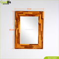Finger joint teak wood wall mount bevel mirror