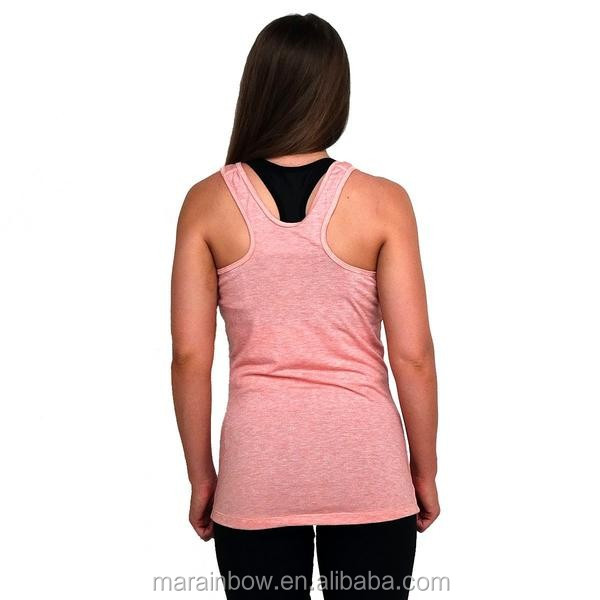 Heather Polyester Spandex Fitness Tank Top Women Athletic Tank Custom Printed Gym Tank Top OEM Wholesale Gym Stringer