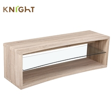 Cheap corner furniture simple wooden designs 8mm clear tempered glass locker led lcd tv cabinet showcase stand for hall