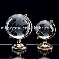 Sandblasted crystal globe with metal stand MH-0011H