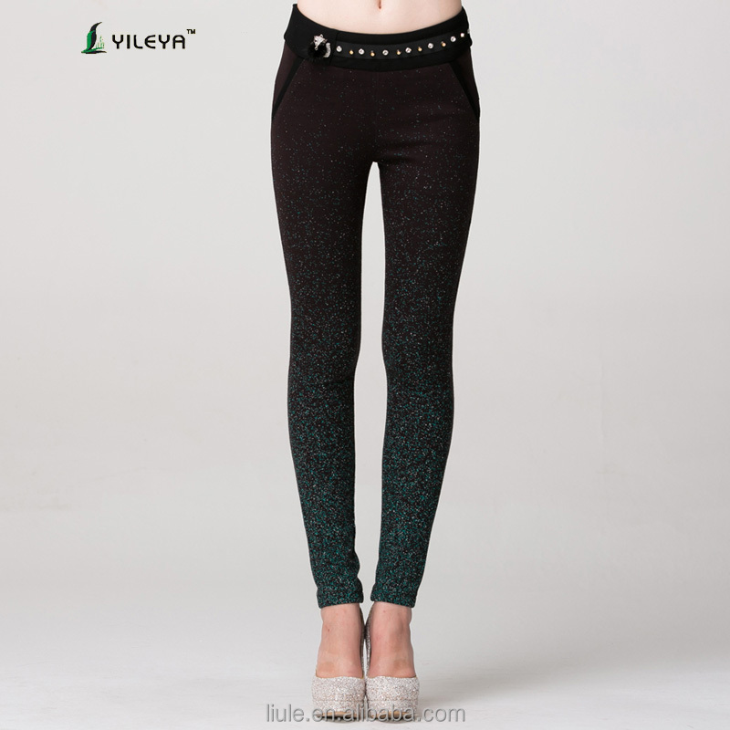 black women skinny sequin cheap pants with diamonds decoration