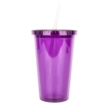 FDA BPA Free 500ml Personalized Travel  Acrylic Kids Cup With Straw