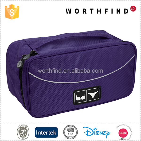 Custom portable polyester purple travel lightweight bra organizer bag