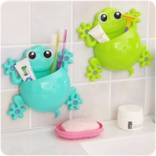 New Cartoon Design Gecko Shape Strong Sucker Plastic Shaver Toothpaste Toothbrush Holder Bathroom Sets for Kids