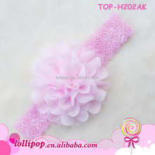2017 New style infant headband with fabric flower pink daisy flower crown headband