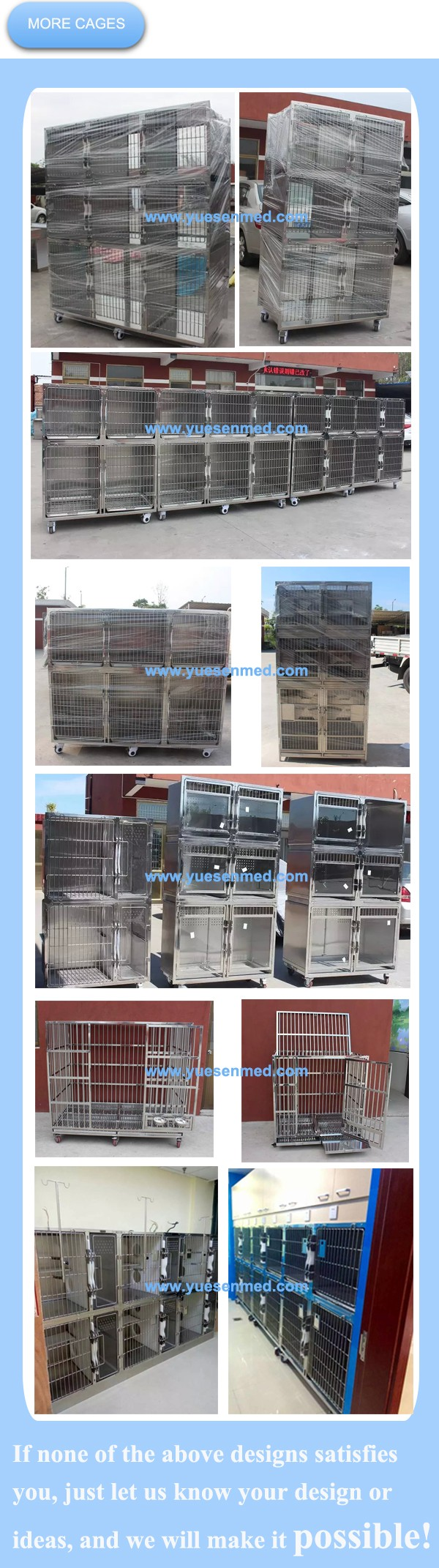 customized vet hospital stainless steel cage crates for dogs