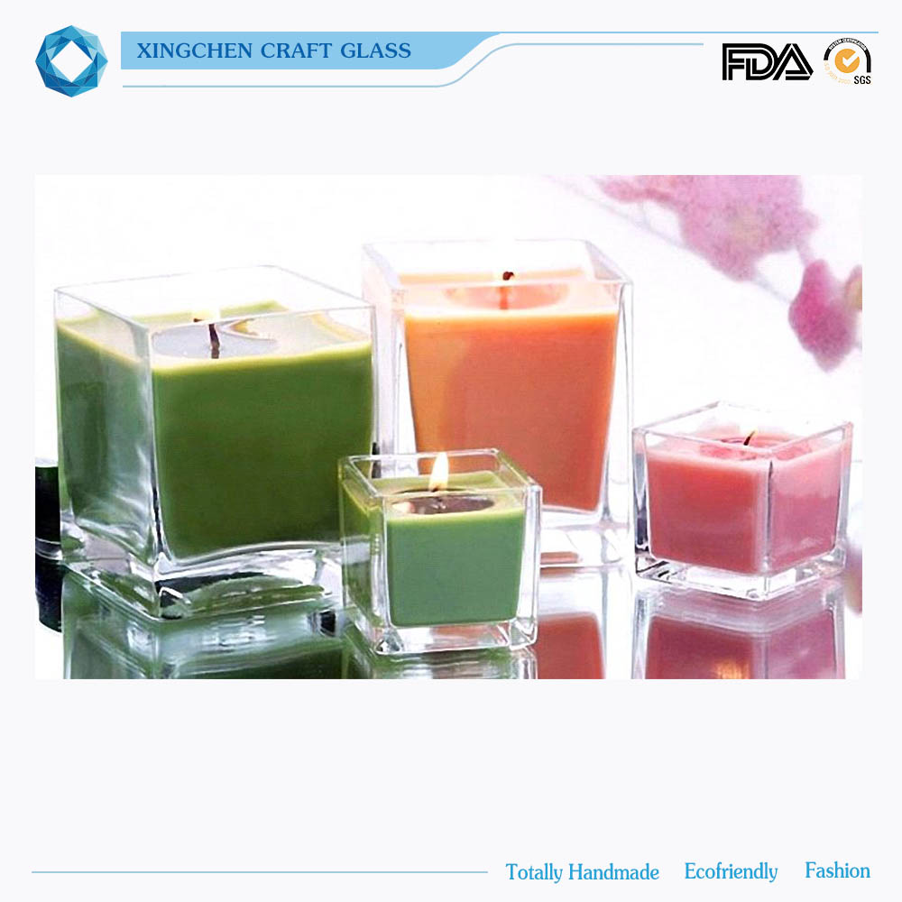hot sales customized square glass jar glass bell jar candle glass jar wood lid
