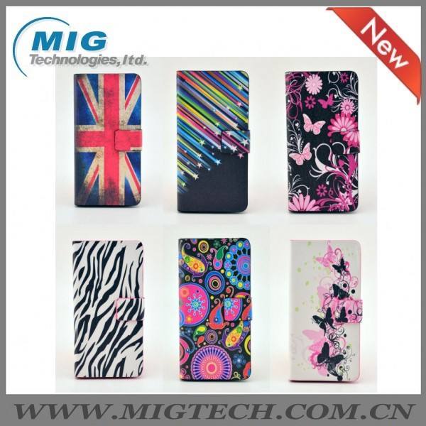 Butterfly Flower PU wallet case for iphone 5 5s , wholesale phone accessory for apple iphone 5s