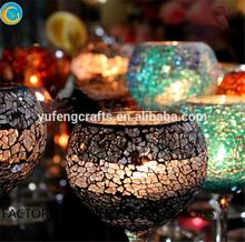 candles scented luxury mosaic goblet long stem glass candlestick holders made in China
