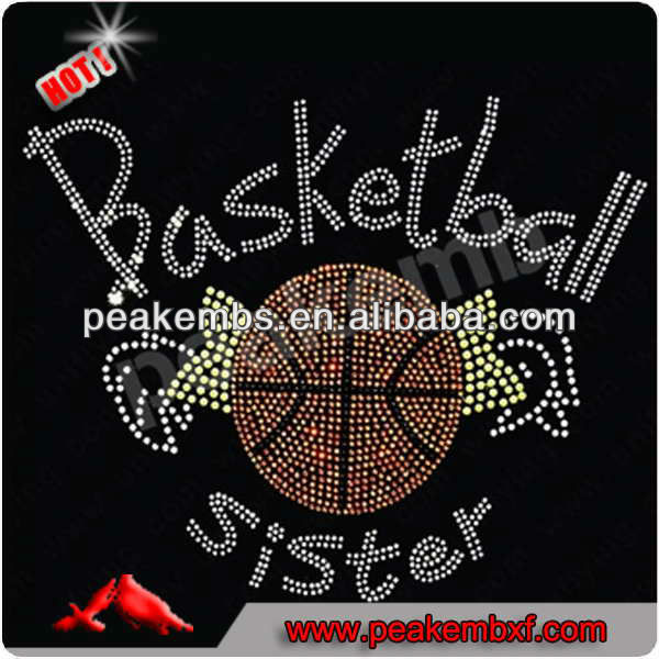Iron on Transfers Basketball T-shirt Rhinestone Designs for Apparel
