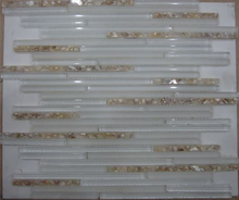 Mother of pearl shell mix resin and crystal mosaic tiles marble border design