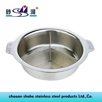 Cooking Stainless Steel Hot Pot with Tri Partition Induction Cooker Available