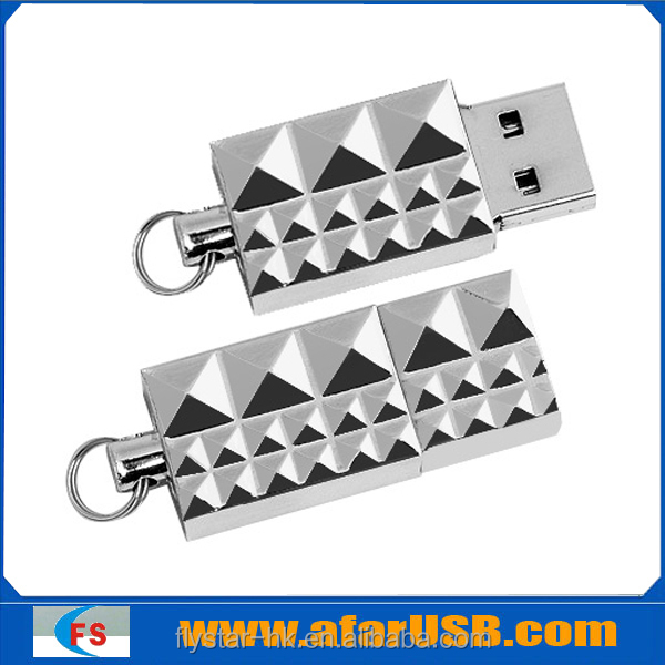 Diamond shaped usb metal stick with key ring