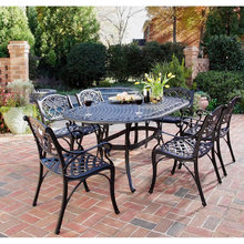 New England Cast Aluminum 7-Piece Bistro Set with Umbrella Hole Patio Furniture