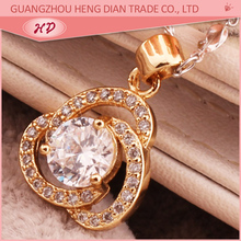 New Arrival 18k gold plated big stone pendant design for women
