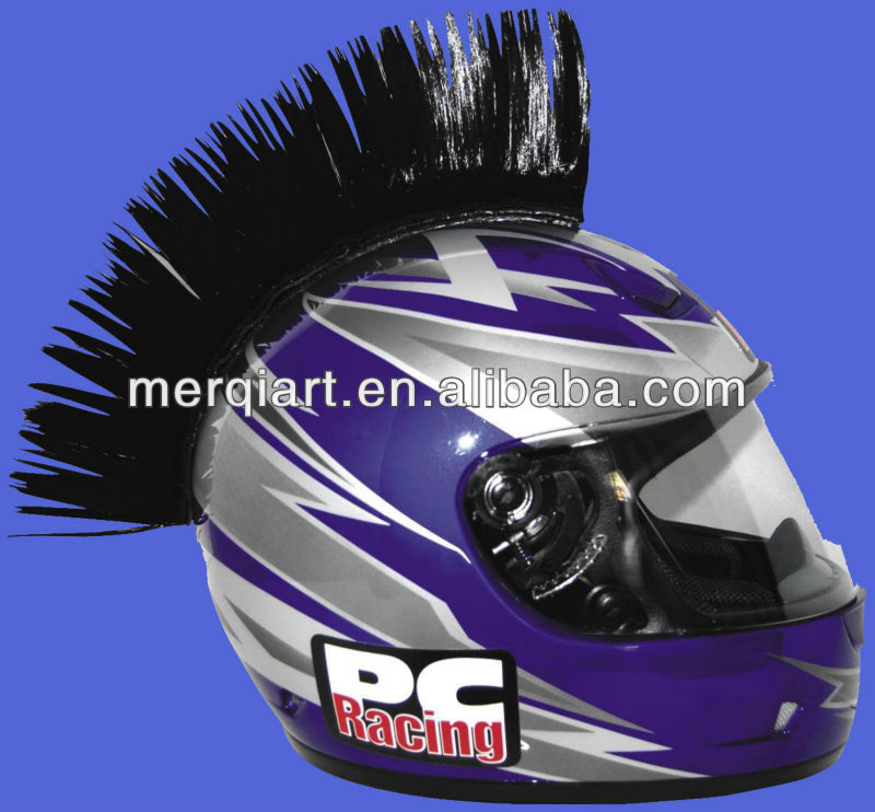 Fancy black Motorcycle Helmet Mohawk helmet wig with different colour