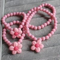 Fashionable Candy Flower Pendant Kids Chunky Bubblegum Necklace And Bracelet Set For Girls