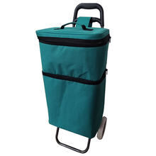 Wholesale Reusable 600D Polyester Insulated Rolling Shopping Trolley Cooler Bag