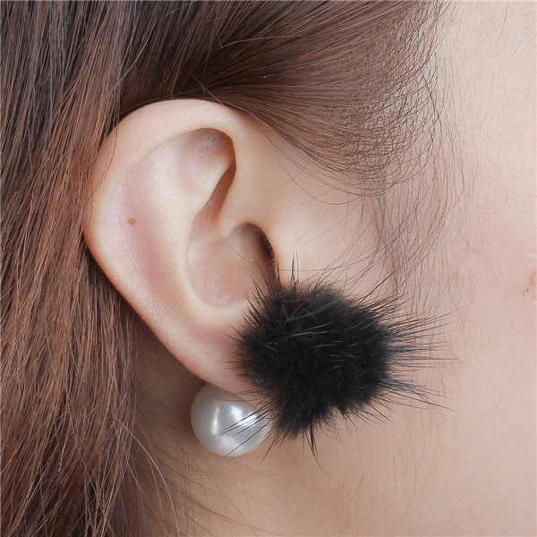 Black Pom Pom Ball White Acrylic Imitation Pearl Sable Fur Double Sided Ear Studs Earrings