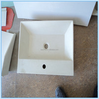 Blue artificial marble with shelf basin,acrylic resin stone blue bathroom basin