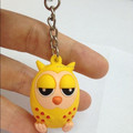 Custom plastic animal keychain, OWL shaped plastic animal keychain,Animal shaped cheap custom keychains