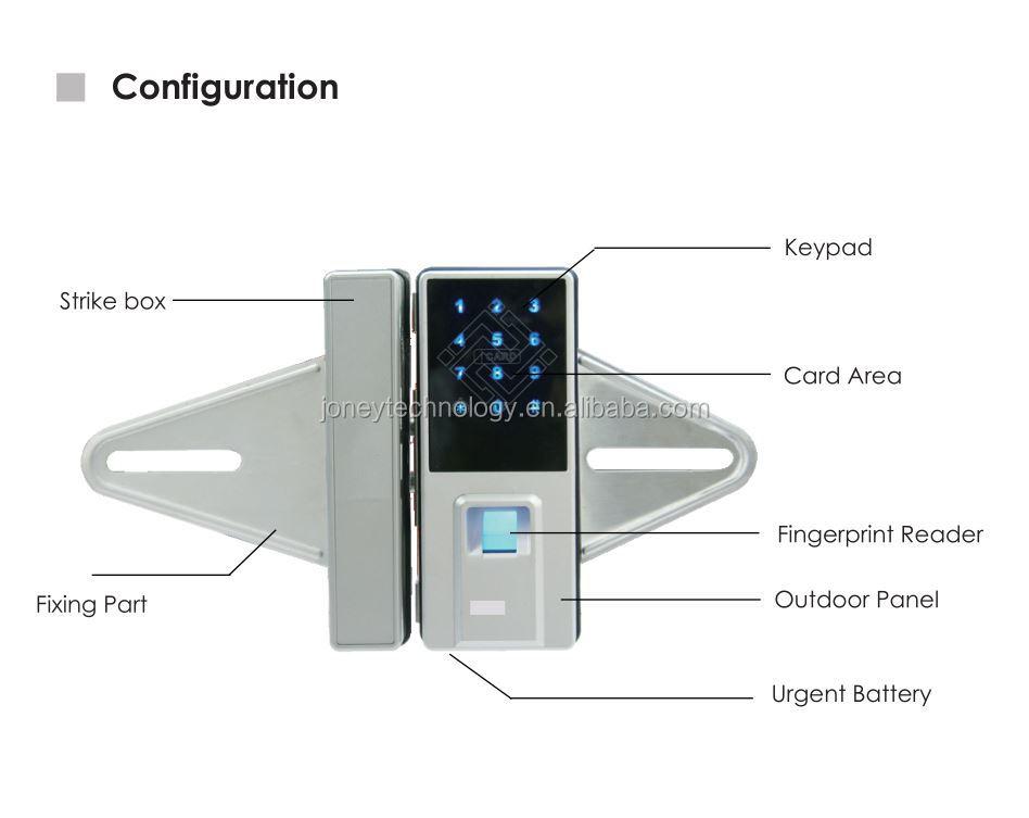 Digital Touch Screen Door Lock Smart Card Fingerprint Glass