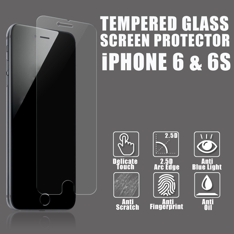 Top Brand 9H Hardness 0.26mm High Clear Anti Uv Anti Glare Mobile Phone Tempered Glass Screen Guard for iphone 6 plus