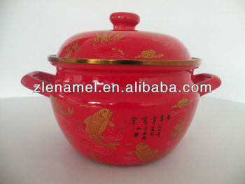 red with decals enamel pots Enamel Cookware